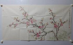 保真书画,津门名家纪荣耀精美国画一幅《荷塘清趣》 ,尺寸69×131cm