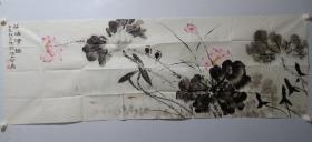 保真书画,津门名家纪荣耀精美国画长条一幅《荷塘清趣》 ,尺寸60×178cm