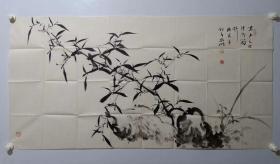 保真书画,当代画家,霍春阳工作室研究员宫延明老师国画一幅70×138cm,画意深得霍老精髓,附带作者相关报刊资料