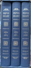 佩皮斯日记  (共3卷)布面精装  书脊、封面烫金图案   弗里欧豪华版 精美插图  带全新套盒