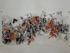 保真书画,孟微冬老师四尺整纸国画《好事连年多》一幅,展览作品