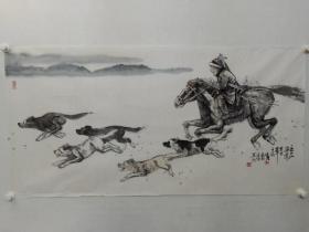 保真书画,黑龙江优秀人物画家,黑河市美协名誉主席姜荣慧四尺整纸人物画一幅,展览作品