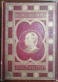 1865年 Dalziels Illustrated Goldsmith丹泽尔兄弟雕版绘本 《哥德史密斯作品集》大开本古董书,英文原版, 含G. J. Pinwell所绘的100副版画插图,皮面精装, 烫金封面 三面刷金