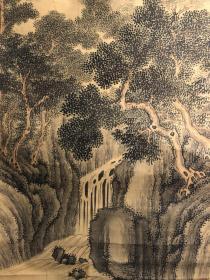 日本近代南画家今井杨洲作品,绢本绫裱无轴头,花心110*42,有老化处