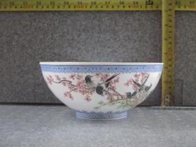 出口创汇期精品:景德镇制手绘薄胎梅花喜鹊碗