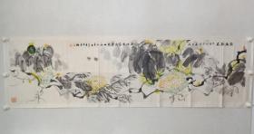 保真书画,著名画家,国内画哈密瓜一绝的刘岳林《丝路珍品》六尺对开国画一幅,纸本托片,尺寸48.5×177.5cm。