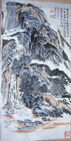 收来的,体积现代山水。陆俨少,春风吹出好山来。所有的笔墨都已启程,不多见。72×36