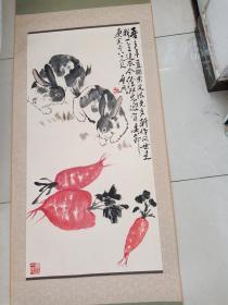 中国美协已故山东著名画家乍启典作品4平尺原装裱立轴乃收来之物