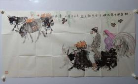 保真书画,新疆军区专职创作员,著名画家马寿民国画一幅68×137cm,附带作者画集报纸