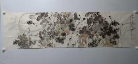 保真书画,著名画家任正江国画一幅48×178cm,附带作者画集一本