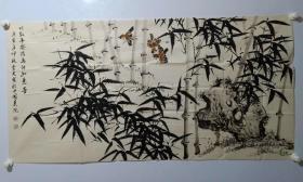 保真书画,河南省舞钢市名家谭云川(字云友)国画《竹报平安信,鸟传如意音》一幅68×137cm