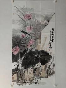 保真书画,花鸟画名家陈春剑国画一幅《荷气满堂》尺寸137×69cm