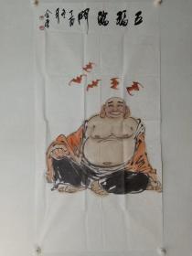 保真书画,中国美协培训中心专职主任,国画名家张金荣先生四尺整纸人物画《五福临门》一幅
