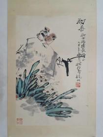 保真书画,江南名宿施祖铨国画一幅,原装裱镜心,画心尺寸67×44cm