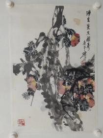 保真书画,国家画院著名画家裘辑木先生作品一幅67×44.5cm,纸本托片