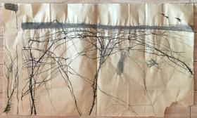 国画 毛边纸 / 水墨画 尺寸:72x43厘米 品相以图为准 右下掉角