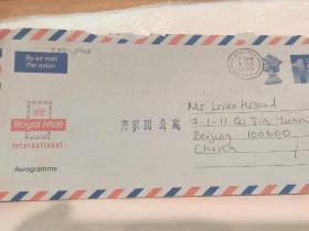 1995年英国皇家航空实寄邮简   罗姆福德(伦敦卫星城)致-北京 外交部公寓