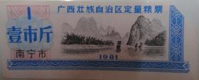 1981年广西壮族自治区定量粮票(南宁市1市斤剪角票)