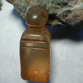 自己鉴定!良渚文化,透明!长7厘米!收到一个瑞兽,老水晶印章