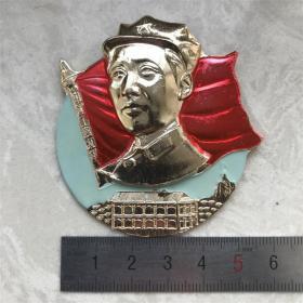 红色纪念收藏文革时期毛主席像章胸针中国工农红军出头章