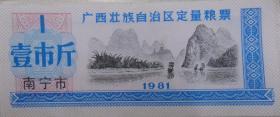 1981年广西壮族自治区定量粮票(南宁市1市斤)