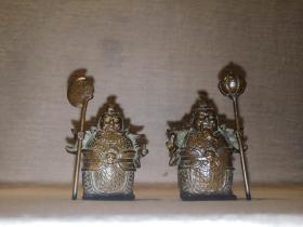 门神纯铜摆件茶台书房摆件