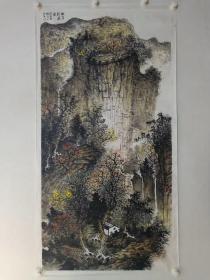 保真书画,当代优秀山水画家杨晖先生创作的国画精品一幅,尺寸139×70cm