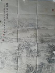 保真书画,嘉兴画院院长,著名画家凌大纶先生四尺整纸山水画精品一幅