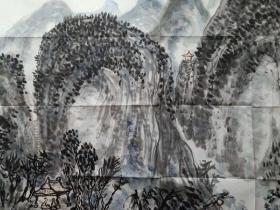 保真书画,广东文史馆馆员,教授,学者,广东名宿丘金峰先生山水画一幅《停舟论道》,尺寸68×136cm,附带作者报纸画集