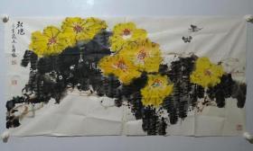 保真书画, 北京名家陈长岭精美花鸟画一幅,尺寸68×137cm