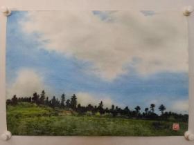 保真书画, 西安美院艺术重要引导者,西安美院教授,著名水彩画家杨乾钊先生佳作一幅,尺寸55×78.5cm