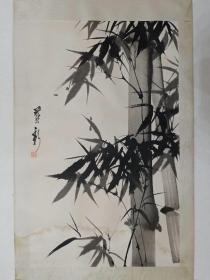 保真书画,山东著名画家尹延新先生国画一幅65×39.5cm,原装裱镜心