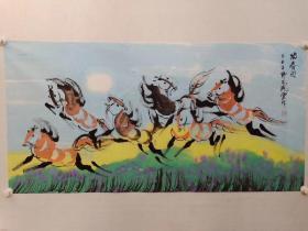 保真书画,中国野风画派唯一传承人,画家野风佩云四尺整纸国画一幅,展览作品