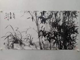 保真书画,蚁桂洲(一草)先生四尺整纸国画《玉竹香兰》一幅,展览作品