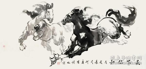 【水墨奔马图 保真】何森/河北省美术家协会会员、石家庄市藁城区美术家协会理事、北京市通州区民间艺术协会会员、东方艺术天地会员。作品多次参加省市级画展并获奖,深得老师同道好评。4尺水墨国画马作品2《天下仁和》(68×136cm)