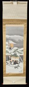 【日本回流】原装旧裱 泰然 国画作品《雪中僧人》一幅(绢本立轴,画心约3.7平尺,款识钤印:泰然)HXTX213338