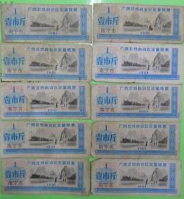 1981年广西壮族自治区定量粮票(南宁市 壹市斤)10张合售
