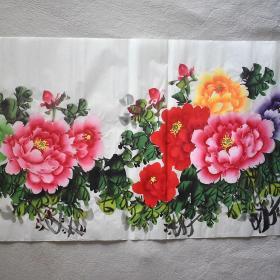 四尺1.4*0.7米牡丹手绘9朵牡丹字画横幅花开富贵