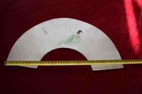 印象绘老农踏水车扇面【日本回流老扇面。设色纸本。一枚】