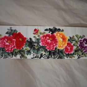 四尺对开1.4*0.35米花鸟牡丹纯手绘国画字画花开富贵
