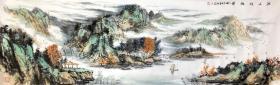 【保真】收藏重器-当代黄宾虹书画院教授、实力派画家张跃武2.2米大幅山水长卷:江山佳胜图