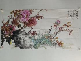 保真书画,中央国家机关美术家协会副主席薛居波花鸟画精品一幅