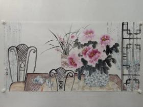 保真书画,当代优秀女画家蔡金花精美国画一幅69×137cm ,画的清新明净,很是喜欢的一幅佳作!馈赠,装饰,收藏均是佳选!出版展览作品