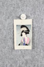 回流字画 回流书画《美人画》竹久梦二 风格 版画 浮世绘 纸本 日本回流书画 日本回流字画