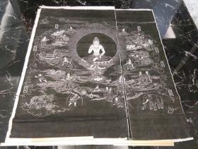 """湖北某寺院佛教题材老拓片""""七难图"""",双拼十几个平尺,包快递发货。"""