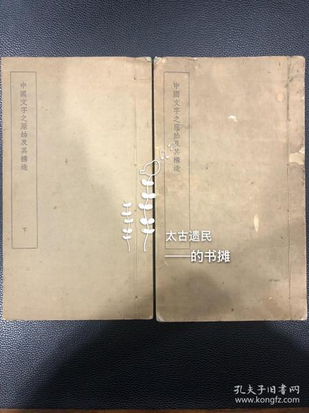 稀见初版书【中国文字之原始及其构造】两册全。