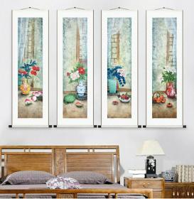 中美协会员王玉山工笔花鸟条屏精品,有合影