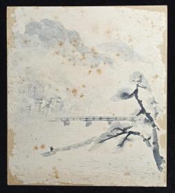 【日本回流】原装精美卡纸 佚名 国画作品《归棹图》一幅(纸本镜心,尺寸:27*24cm)HXTX214009