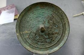 宋代青铜镜花卉纹保真保老无裂补翘古董古玩杂项收藏  直径:92mm  镜沿高:6.5mm