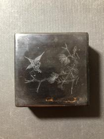 实木嵌银丝铜胎墨盒